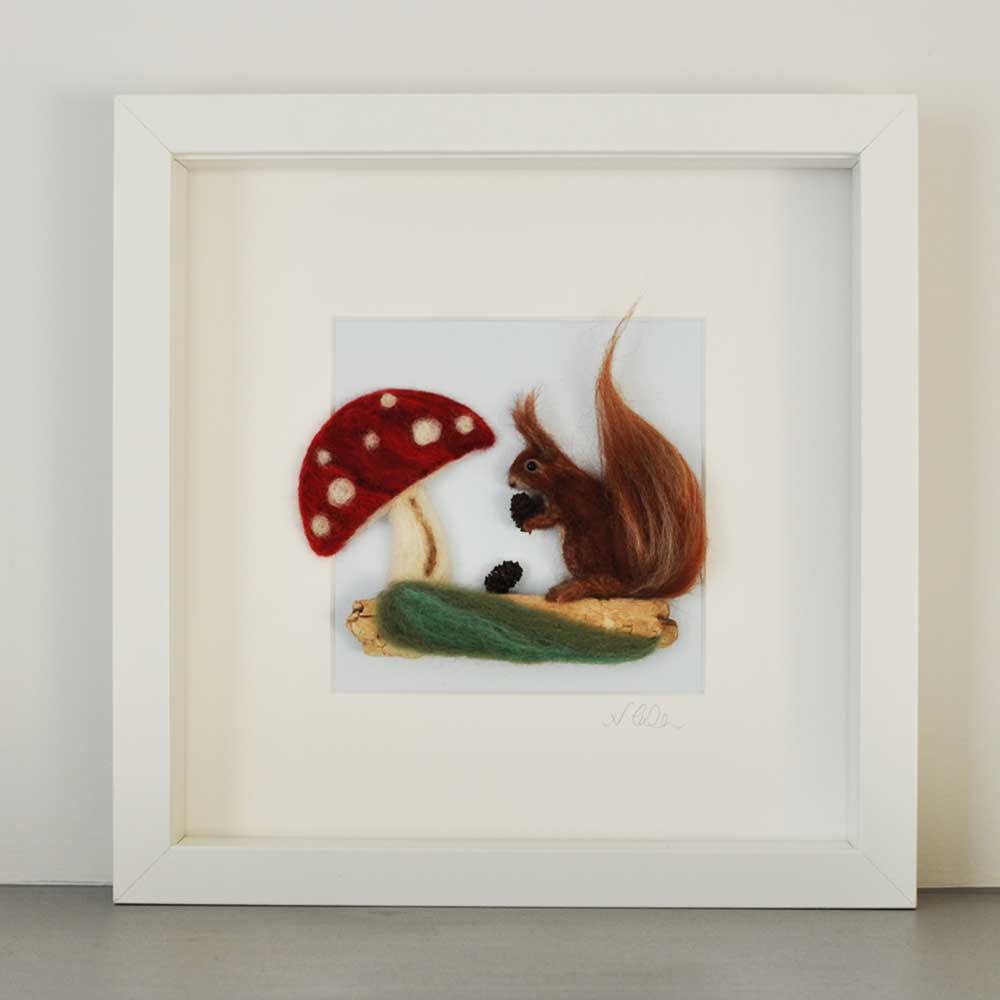red squirrel toadstool felt picture