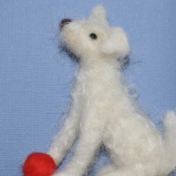 curly felt dog white