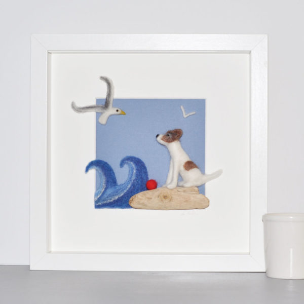 dog and seagull felt picture
