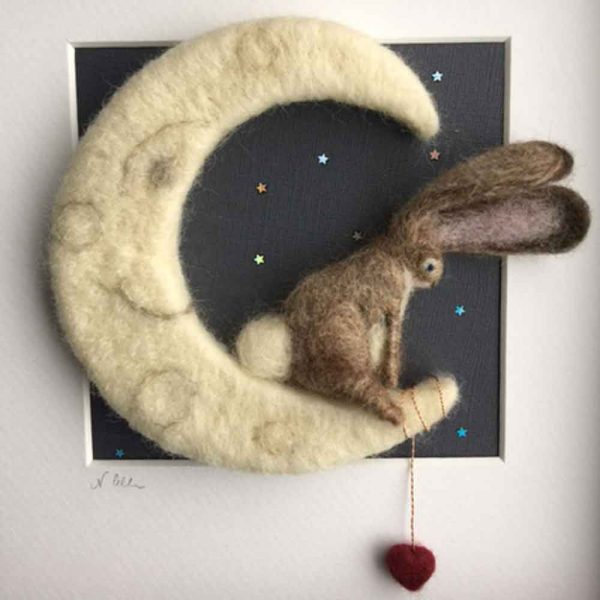 hare and the moon needle felt picture