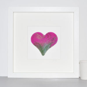 the pink heart felt picture