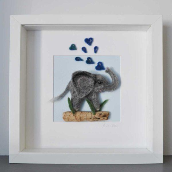 Showering Love Felt Elephant Picture
