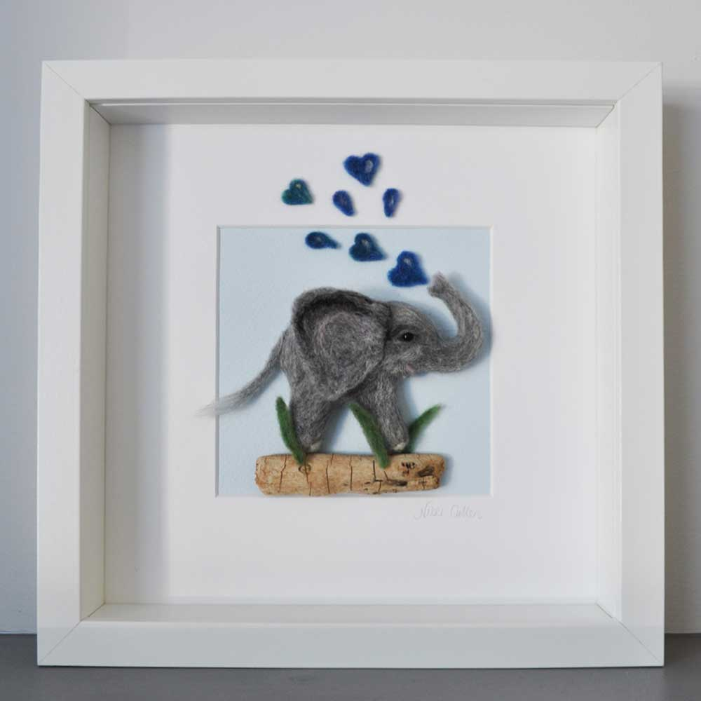 Showering Love Felt Elephant Picture