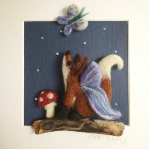 Lunar fox needle felt picture