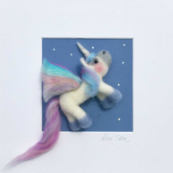 rainbow unicorn needle felt picture