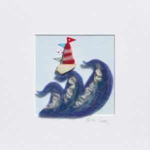 sailing away felt art picture