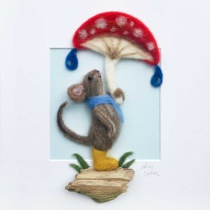 sheltered mouse needle felt picture