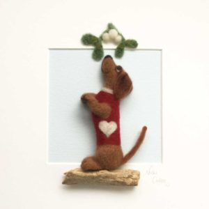 Christmas Kiss Daschund, Needle Felted Dog