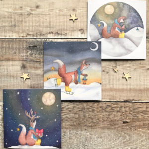 3 pack Whimisical Christmas Cards of Felix Fox, Ice Skating, Sitting in Snow and Felix Fox with Antlers