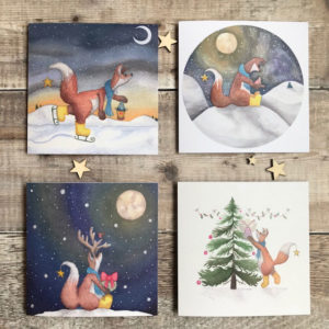 4 pack Whimisical Christmas Cards Felix Fox