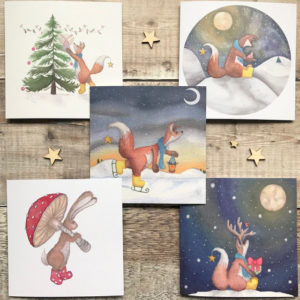 5 pack Whimisical Christmas Cards Felix Fox