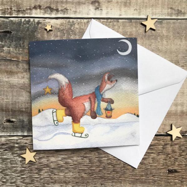 Felix Fox Ice Skating Christmas Card