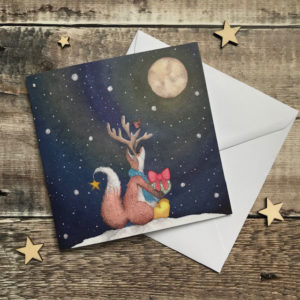 Felix Fox with Antlers Christmas Card