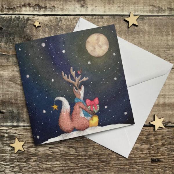 Felix Fox with Antlers Christmas Card