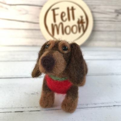 Needle Felted Chocolate & Tan Dachscund