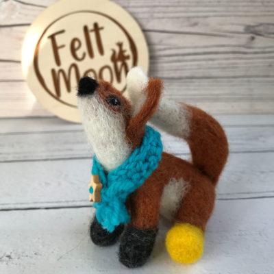 Needle Felted Felix Fox in Yellow Wellies