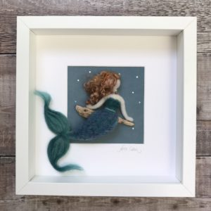 moonlight mermaid needle felt picture